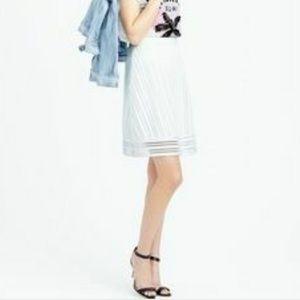 J. Crew White Striped Eyelet Skirt